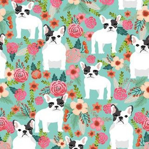 french bulldogs bulldog florals flowers vintage mint sweet spring flowers