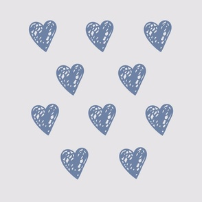 Hearts - grey and blue - throw pillow