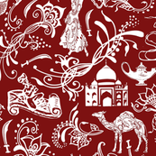 Arabian Nights on Maroon - Large