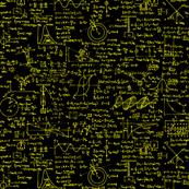 Physics Equations on Chalkboard - Yellow