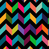 Chevron Mulit Color on Black