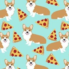 corgi pizza mint dog pet dogs corgis cute  mint pizza food novelty fabric