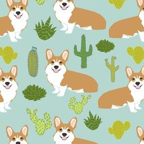 corgi cactus cute dogs dog sweet pet dogs mint fabric