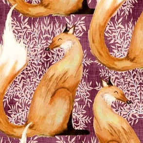 Fox Watercolor Toile Maroon & Peach