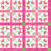 Cheater Quilt Double Peony Pattern Pink Green Yellow