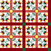 Cheater Quilt Double Peony Pattern Red Orange Green Yellow