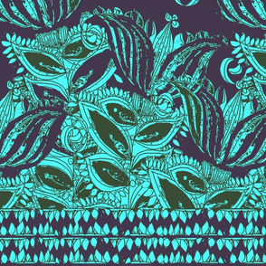 Lilies in Turquoise and Navy