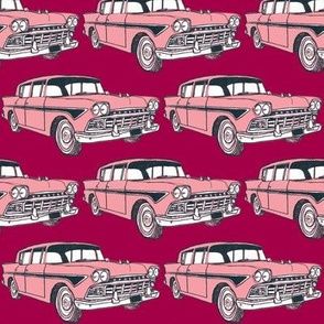 Pink and Black 1958 Rambler Custom on red background