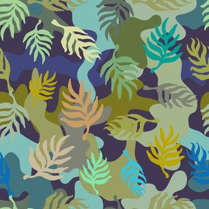 Camouflage pattern with palm leaves
