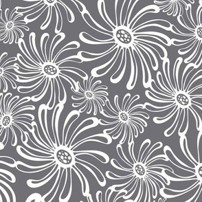 Bursting Bloom Floral Grey