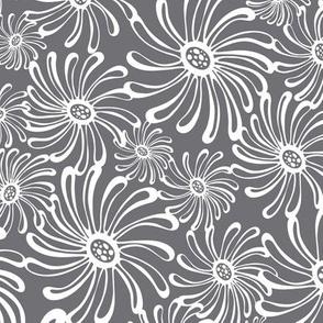 Bursting Bloom Floral Grey