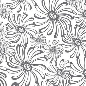Bursting Bloom Floral White & Grey