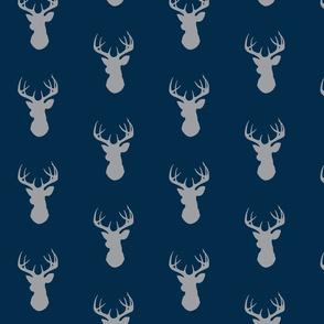 Deer-Gray on navy