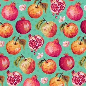 Autumn Splendour - Pomegranates & Apples - Aqua