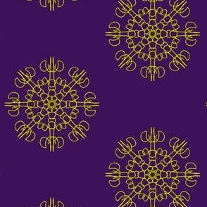 Mariner's Wheel of Gold on Royal Purple