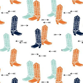 boots // western cowboy boots cowboys orange mint navy blue kids arrows
