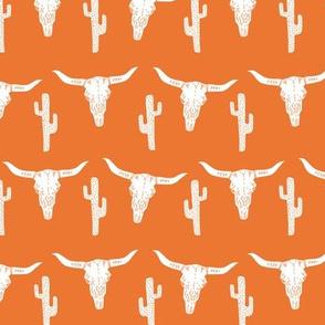 skull // longhorn cattle cow texas skull orange cactus west western kids