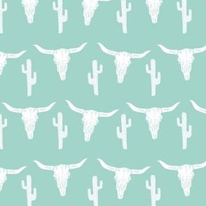 longhorn skull // mint skulls cactus kids west western mint
