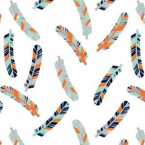 feathers // grey orange mint navy blue kids boys nursery