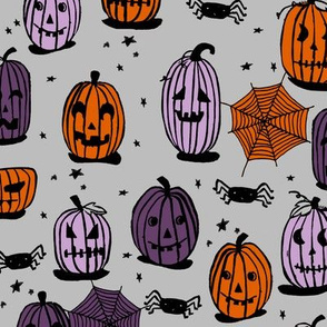 pumpkins // halloween orange purple black kids funny jack o lantern spiders spooky scary