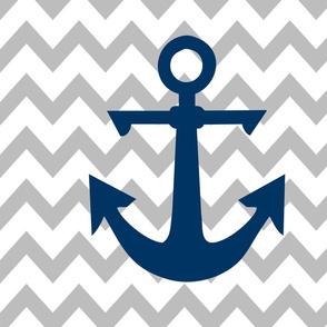 anchor cot sheet // grey chevron and navy anchor with pillows