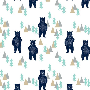 forest bear // khaki mint navy blue boys nursery forest woodland camping