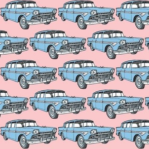 blue 1958  Rambler on pink background