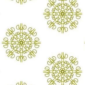 Mariner's Wheel of Gold on White