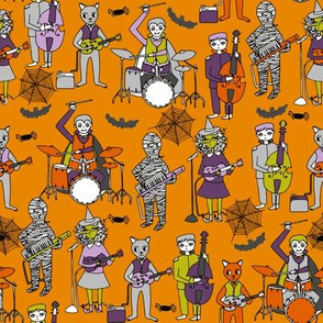 tombstones // orange halloween rock band kids witch frankenstein bass drummer music characters illustration