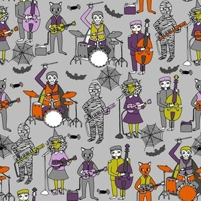 tombstones // halloween rock band illustration kids witch spiders mummy playing keytar cool dude