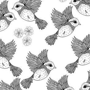 Flying Birds Outline