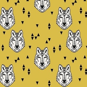 wolf // mustard yellow (smaller version) wolf kids boys animals