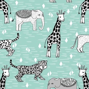 jungle // safari zoo animals mint and grey kids baby nursery sweet animals