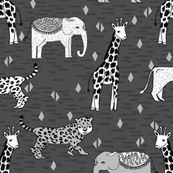 jungle // safari zoo charcoal grey kids baby triangles giraffe rhino hippo