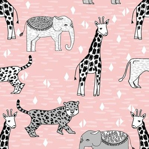 jungle // safari zoo kids baby pink nursery rhino cheetah lion giraffe