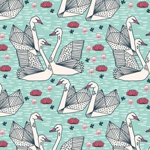 swans // geometric mint swans girls lily pond sweet birds