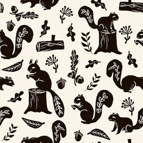 squirrels // oak leaves woodland forest squirrel critter cute woodland forest block print linocut