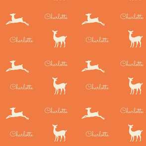 Deer 2  Personalized- tangerine cream