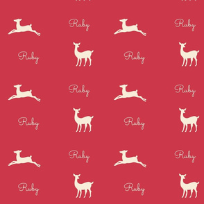 Deer 2 Personalized - red cream