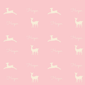 Deer 2 Personalized  - pink cream