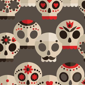 Red and Grey Sugar Skulls Large