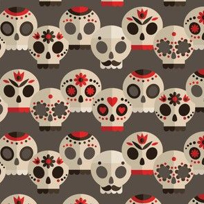 Red and Grey Sugar Skulls Small