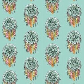 dreamcatcher // feathers mint boho native bohemian
