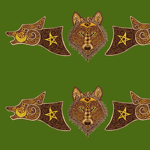 wolf triptich 1 green