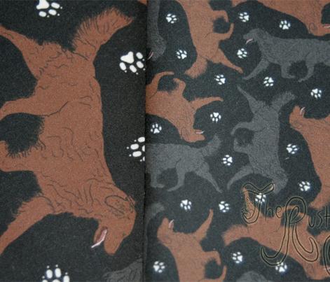 Trotting Flat coated Retrievers and paw prints - tiny black