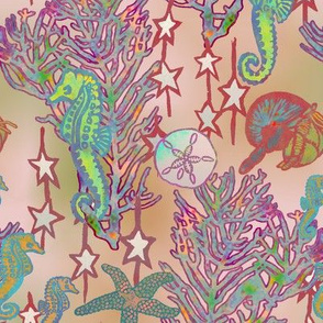 Seahorses Symphony on the Reef on Peach