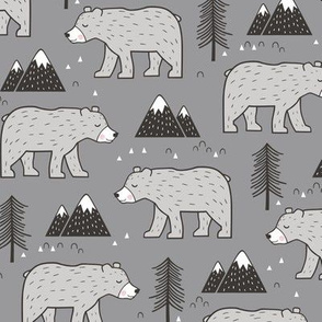 Mountain Bear  Woodland on Dark Grey