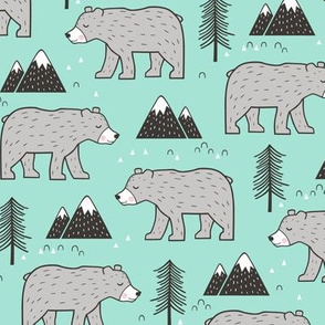 Mountain Bear  Woodland  on Mint Green