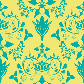 Floral Damask RGB-00afa8 with f0e872 background
