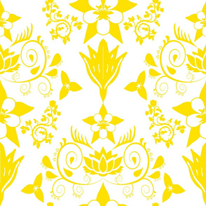 Floral Damask Yellow RGB-FEE100